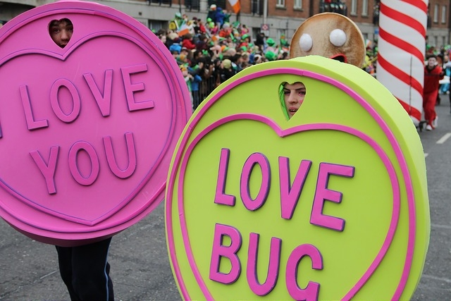 Sweet themed entertainers, street performers, love heart sweets costumes