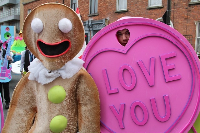 Sweet themed entertainers, street performers, ginger bread man costume