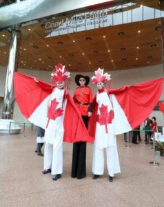 Canada theme stilt walkers