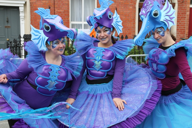 maritime themed entertainers, sea horse costumes
