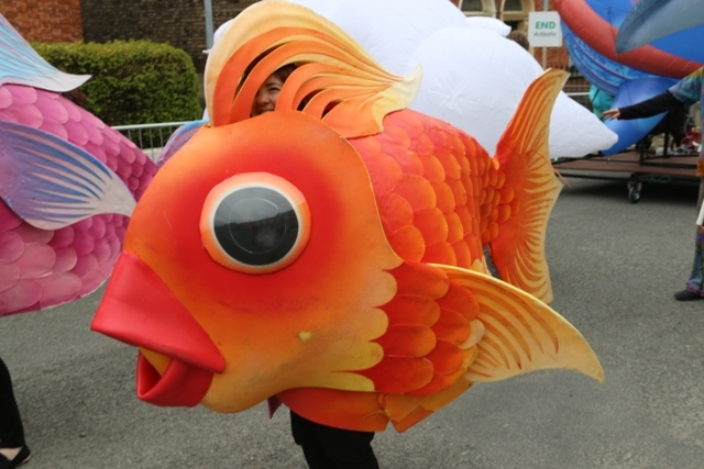 maritime themed entertainers, fish costumes