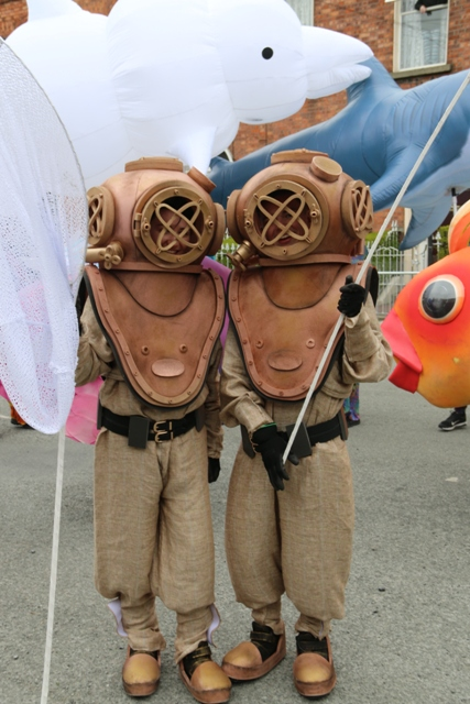 Maritime themed entertainers, vinatge diver costumes